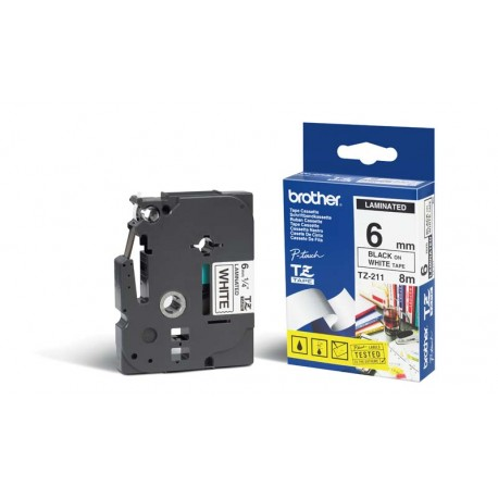 brother 211 brother tz211 p touch label tape - کاست لیبل پرینتر برادر مشکی رو سفید Brother Tze-211