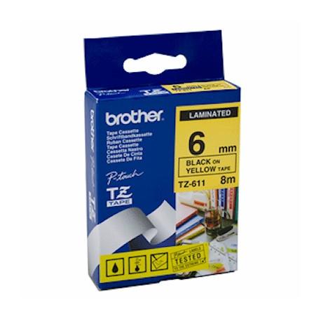 tz 611 brother tz 611 tape black on yellow 6mm - کاست لیبل پرینتر برادر مشکی رو زرد Brother Tze-611