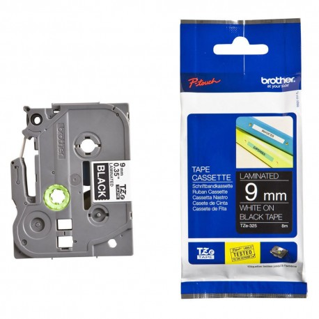tze325 brother tze 325 p touch label tape - کاست برچسب لیبل برادر سفید روی مشکی Brother TZe-325