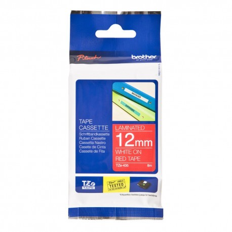tze435 brother tze 435 p touch label tape white on red - کاست برچسب لیبل برادر TZe435 سفید روی قرمز Brother TZe-435