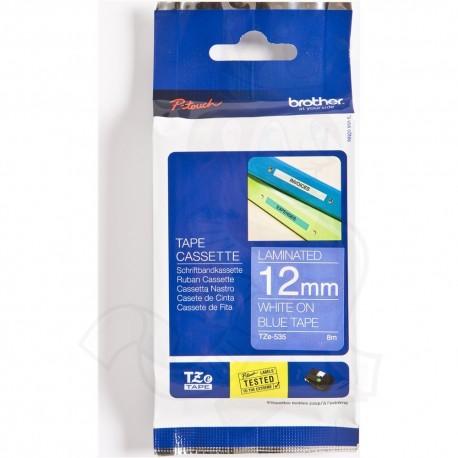 tze535 brother tze 435 p touch label tape white on blue - کاست برچسب لیبل برادر TZe535 سفید روی آبی Brother TZe-535