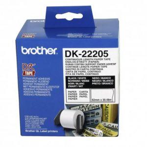 رول برچسب لیبل برادر مشکی رو سفید Brother DK-22205 paper Tape