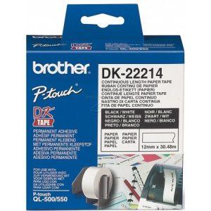 رول برچسب لیبل برادر مشکی رو سفید Brother DK-22214 paper Tape